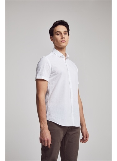 TWN Slim Fit Düz Gofre Gömlek Beyaz